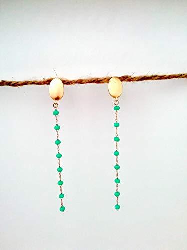 Pendientes largos turquesa oro/dorado cadena engarzada de aleación inoxidable - Regalo - Para mujer