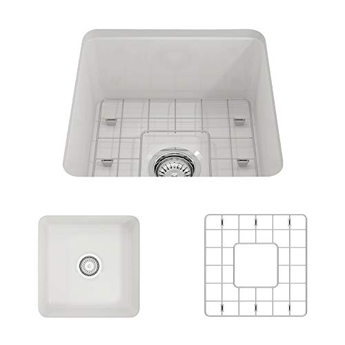 BOCCHI 1359-001-0120 Sotto Undermount Fireclay 18 in. Single Bowl Kitchen Sink with Protective Bottom Grid and Strainer in White