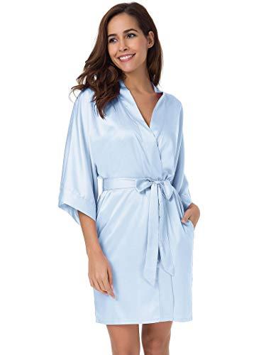SIORO Women's Satin Robes Silk Kimono Bathrobe for Bride Bridesmaids Wedding Party Loungewear Short,Light Blue Small