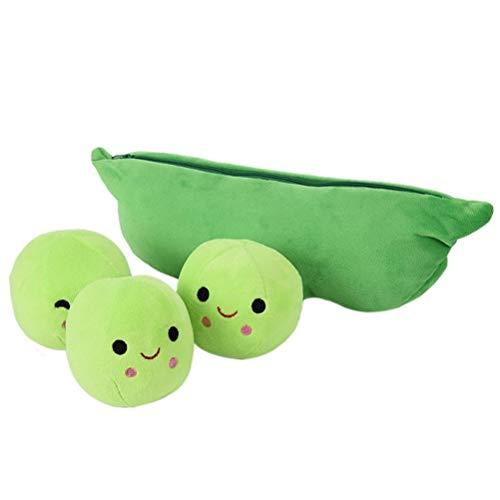BSTCAR Kawaii Plüschtier, Reißverschlusstasche mit 3 Erbsen, Erbsen Plushie Kawaii Weiches Wurfkissen Geschenke für Kinder