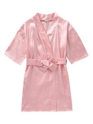 Kimono de seda de satén para niñas y niños, con estampado de corazón floral y mariposa