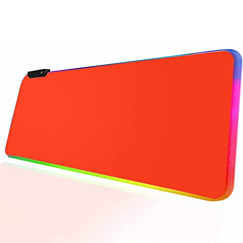 RGB Red Gaming Mouse Pad, Large Led Mouse Pad Desk Pad for Large LED Soft Light Up Keyboard and Mouse Pad Non-Slip Rubber Base PC Gaming Mousepad High-Performance Pad Optimized for Gamer,31.5x12 inch