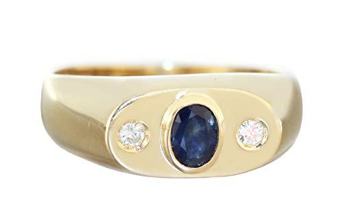 Hobra-Gold Anillo alianza oro 750 zafiro hombre diamante 0,10 ct brillante anillo 18 ct