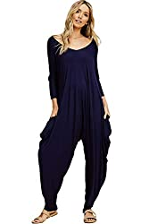 Annabelle Women's Long Sleeve Comfy Harem Jumpsuits Romper with Pockets