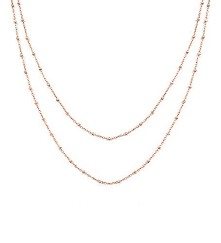 SHINE & WANDER Twin Necklace | Doppelte Damen Edelstahl Halskette mit kleinen Kügelchen in Gold, Silber und Roségold mit verstellbarer Länge 35 + 5 cm (Roségold)
