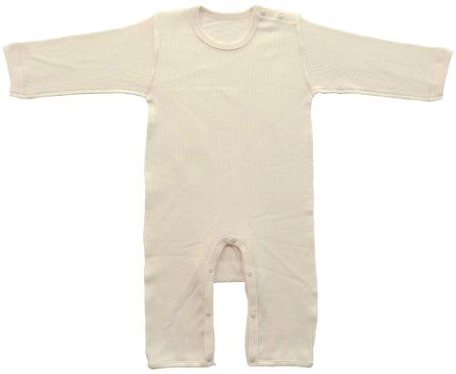 村信 ベビーストーリー のびのび長袖肩開きカバーオール肌着 90cm - 100cm ピンク 両面リブフライス N77413 日本製