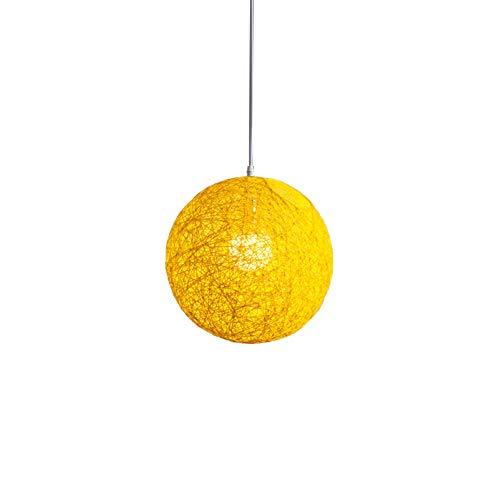 Huante - Lámpara de bambú amarillo con bola de mimbre y cáñamo con pantalla de nido de mimbre esférico de creatividad, individual