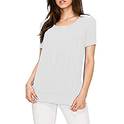 RAINED-Women Pleated Blouse Scoop Neck Short Sleeve Tunic Tops Casual Front Ruched Shirts Summer Loose Slim Tops
