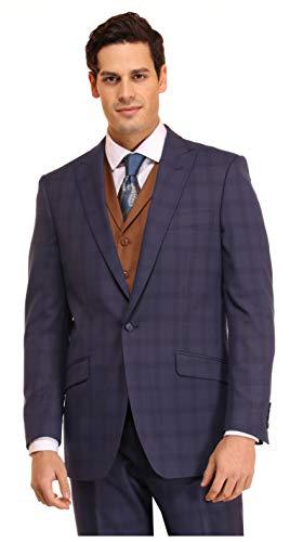 Wemaliyzd Vintage Men's 3 Pieces Suit Herringbone Tweed Checkered Blazer Vest Pants (Dark Grey, 50R)