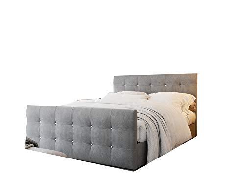 PM Designer Bett mit Bettkasten, Bett mit Matratze 140/160/180x200 cm mit dekorativen Knöpfen im Kopfteil, Gesteppte Kopfstütze - Cleo (Grau, 140 x 200 cm)