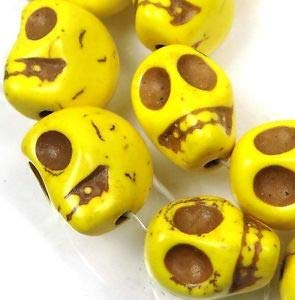 10 Yellow Turquoise Carved Skull Beads 18mm Spacer Beads and Roll Crystal String for Bracelets Jewelry Making