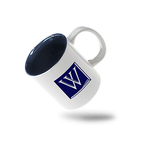 "Navy""W"" Classic Tile Monogram Letter W Ceramic Inner Color Cup Coffee Mug - Blue"