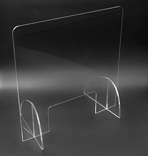 Mampara protección metacrilato transparente (90cm x 60cm). Sistema de prevención transparente, ligero y estable.