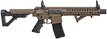 DPMS Full Auto SBR CO2-Powered BB Air Rifle with Dual Action Capability Flat Dark Earth DSBRFDE Black/FDE Caliber  .177