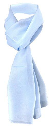 TigerTie Damen Chiffon Halstuch blau hellblau Uni Gr. 160 cm x 36 cm - Schal