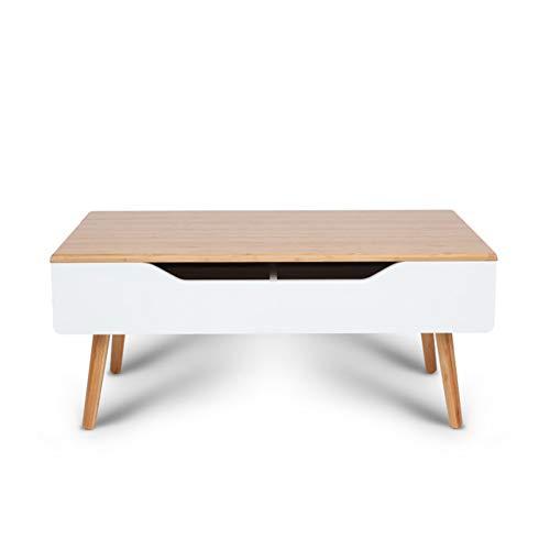 Mesa de centro superior elevable con gabinete de almacenamiento oculto, escritorio auxiliar de madera versátil y no tradicional - Patas de madera maciza, utilizadas para exhibir una variedad de frutas