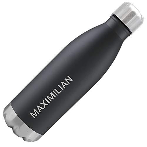 NAMENBAR Edelstahl Trinkflasche mit Namen graviert - 500ml isolierte Thermosflasche individuell beschriftet (Schwarz)