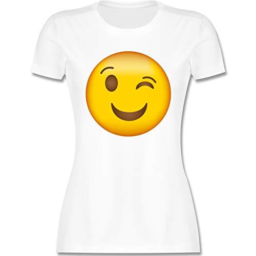 Comic Shirts - Zwinker Emoticon - M - Weiß - Schwarze Tshirt Damen - L191 - Tailliertes Tshirt für Damen und Frauen T-Shirt