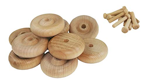 Wood Wheels - 24 Pack with Free Axle Pegs - Made in USA (1.5' Diameter)