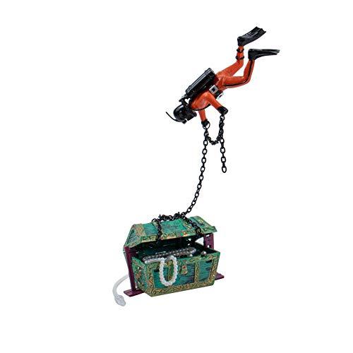 AUEAR, Moving Treasure Chest Diver Action Figure Decoration for Aerating Aquarium Fish Tank Ornament