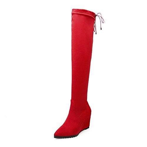 VogueZone009 Damen Hoher Absatz Hoch-Spitze Rein Schnüren Stiefel, Rot, 34