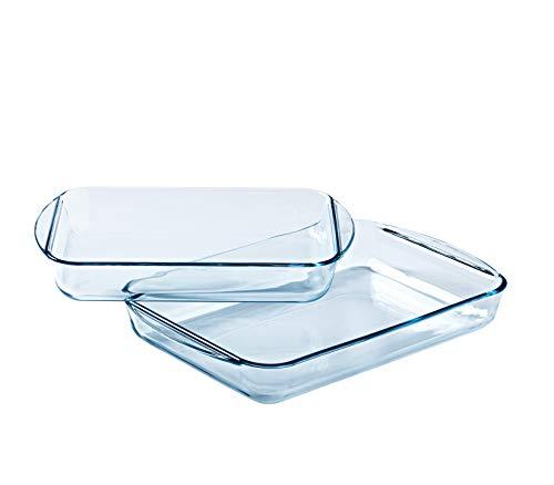 Pyrex Essentials - Juego de 2 platos rectangulares de cristal (35 x 23 cm, 40 x 27 cm)