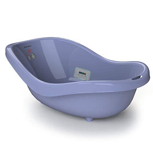 BABYLON bañeras para bebes Donny - Bañera para bebé con termómetro y tapón (0-36 meses), color púrpura