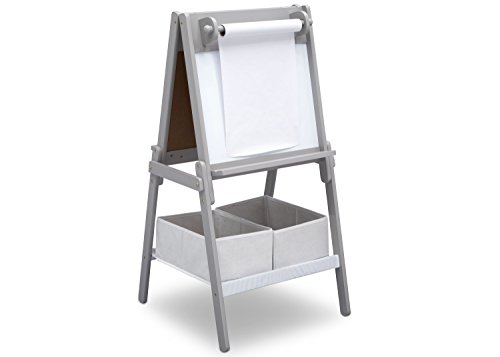 Delta Children MySize Kids Double-Sided Storage Easel -Ideal for Arts & Crafts, Drawing, Homeschooling and More, Grey