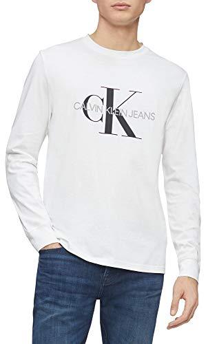 Calvin Klein Mens Long Sleeve Logo T Shirt Brilliant White Monogram Medium