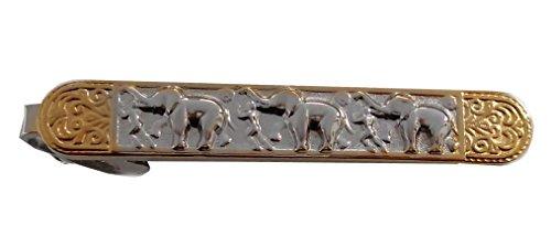 Krawattennadel Klammer Elefant Bicolor glänzend Made in Germany 6,6 cm lang + brauner Exklusivbox