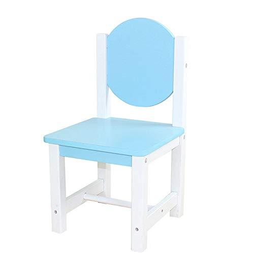 MJY Silla pequeña, sillón, silla de bebé, silla de comedor para niños, mesas y sillas para niños, taburetes de madera maciza, dibujos animados de jardín de infantes l/Azul