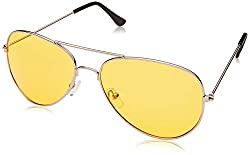 NPI Nv-1000 Yellow Polycarbonate Night View Aviator Style Glare Reduction Glasses.