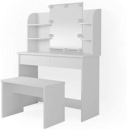 Vicco LED Schminktisch Charlotte Frisiertisch Kommode Frisierkommode Schminkkommode mit Beleuchtung und Bank (Weiß)