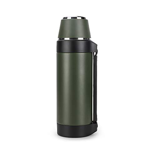 Olerd Double Wall Insulated Flask 1.5L - Insulated Water Bottle with Cup for Indoors or Outdoors use, Green
