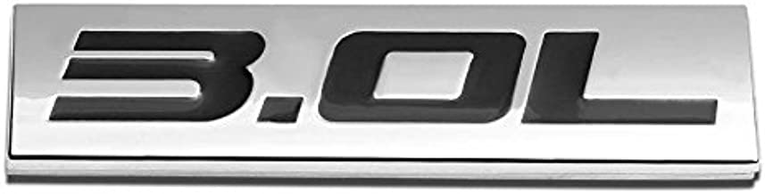 UrMarketOutlet 3.0L Black/Chrome Aluminum Alloy Auto Trunk Door Fender Bumper Badge Decal Emblem Adhesive Tape Sticker