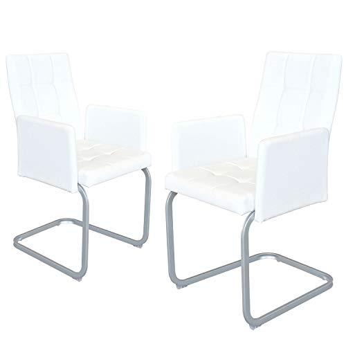 B&D home - Esszimmerstühle 2er Set | Vintage freischwinger Stühle mit Armlehne | Kunstleder weiß