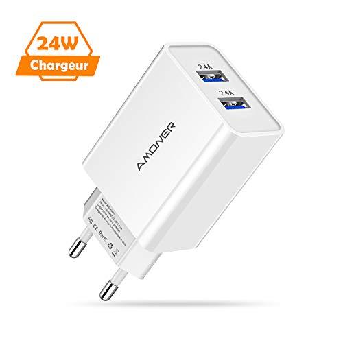Amoner Chargeur USB Prise 2 Ports Universel 24W 4.8A, Chargeur Secteur Mural, Adaptateur Prise USB Universel pour Phone Samsung iOS, Android, Appareils Portable Windows etc -Blanc (24W)