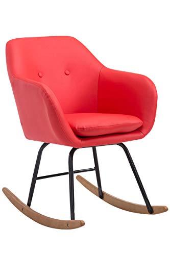 CLP Schaukelstuhl Avalon, Kunstleder-Sitz, Schaukelsessel mit Metall-Gestell, Relaxsessel mit Holzkufen, Farbe:rot