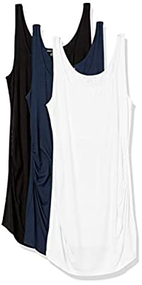 Amazon Essentials Women's Maternity 3-Pack Rouched Tank Top, Black/White/Navy, Medium