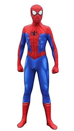 Fantasia de cosplay unissex Lycra Spandex Bodysuit Halloween New into The Spider Verse Miles Morales Adulto/Crianças, Azul, Adult-L((Height 165-170cm)