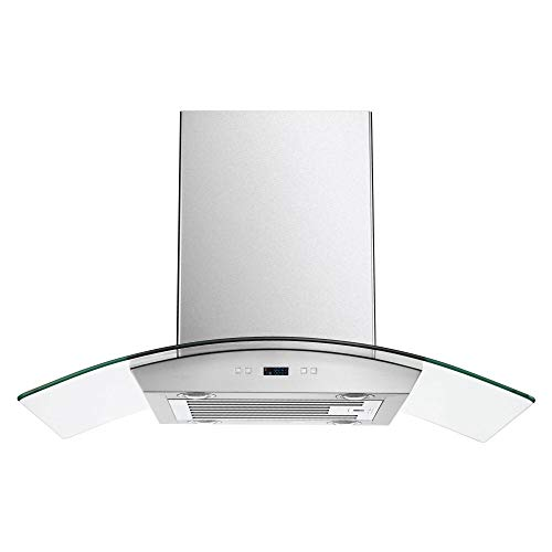 CAVALIERE 36' Inch Glass Canopy Island Mounted Stainless Steel Kitchen Range Hood