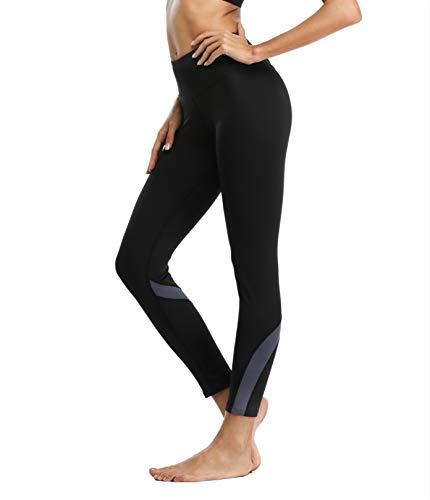 V FOR CITY Damen Leggings Yoga Laufen Hose Winter Pants Lang Strumpfhose Dunkel Grau Thermo Lauftights S