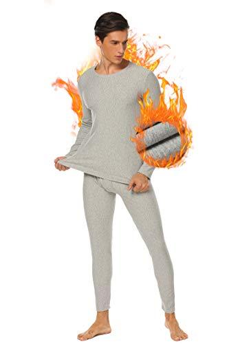 Herren Thermounterwäsche Set Lang Baumwolle Skiunterwäsche Funktionswäsche Schlafanzug Thermounterhemd und Hose mit dünne Innenseite für Winter