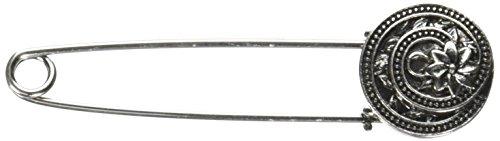 Dritz Loran Sjaal Pin Ronde Zilveren Swirl met Bloem, Acryl, Multi kleuren, 2.9 x 5.65 x 0.48 cm