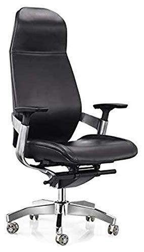 PULLEY Executive Sedia da ufficio girevole alla moda, bracciolo in lega di alluminio, sedia per sala conferenze, sedia in pelle con schienale alto