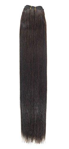 Euro soyeux Tissage 100 g Extensions de cheveux humains | 50,8 cm | Barely Noir (1B)