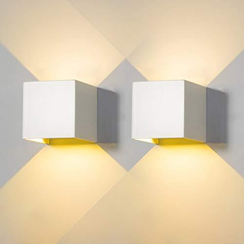 2 Pezzi Applique da Parete Esterno LED Interno Moderno Lampada da Parete LED 6W Bianco 4000K Bianco Naturale IP65 Impermeabile Quadrata Alluminio Lampada Muro Giù Regolabile Design Facile Installare
