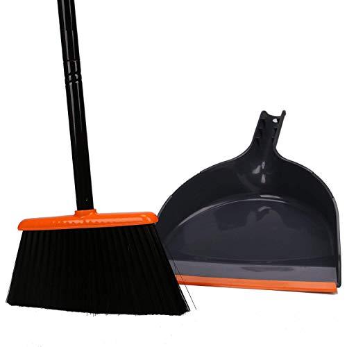 TreeLen Angle Broom and Dustpan Set, Dust Pan Snaps On Broom Handles Orange