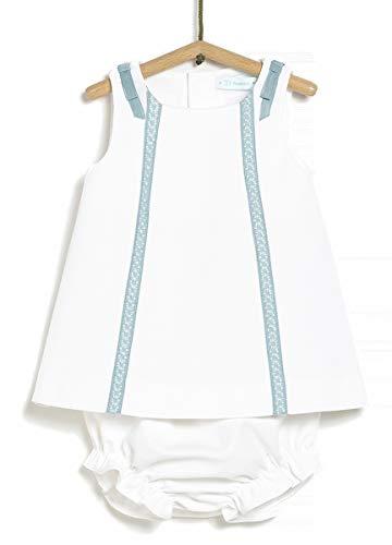 TEX - Conjunto Vestido y Braguita para Recién Nacido, Blanco Neutro, 6 a 9 Meses
