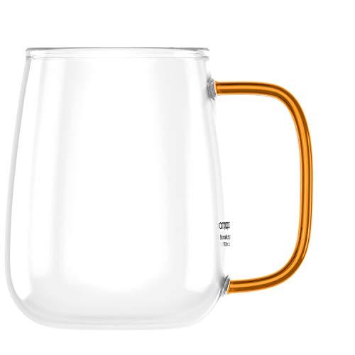 amapodo XXL Kaffeetasse groß mit Henkel Jumbo Kaffeebecher Geschenkidee für Frauen Männer (Transparent, Orange)